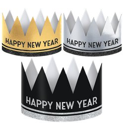 Happy NY Metallic Crowns 12pk