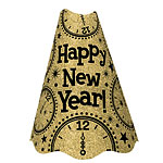 "Gold Glitter ""Happy New Year!"" Hat - 23cm Tall"