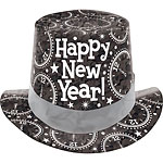 "Black Prismatic ""Happy New Year"" Hat - 12cm Tall"