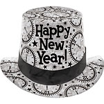 "Silver Prismatic ""Happy New Year!"" Top Hat - 12cm Tall"