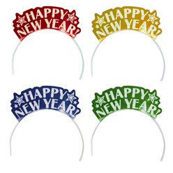 "Colourful ""Happy New Year"" Card Tiaras - 19cm"
