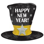 """Happy New Year!"" Over Sized Top Hat - 33cm"