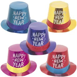 """Happy New Year"" Foil Top Hats - Assorted Colours"