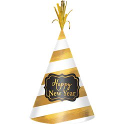 "White & Gold ""Happy New Year"" Hat"
