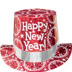 "Red Prismatic """"Happy New Year!"" Top Hat"