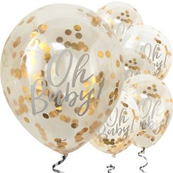 "'Oh Baby!' Gold Confetti Balloons - 12"" Latex"