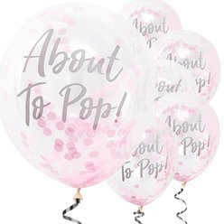 "Oh Baby - ""About To Pop"" Printed Pink Confetti Latex Balloons"