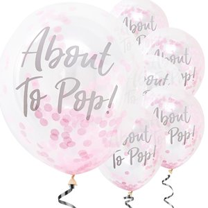 Oh Baby 'About To Pop' Pink Confetti Balloons - 12