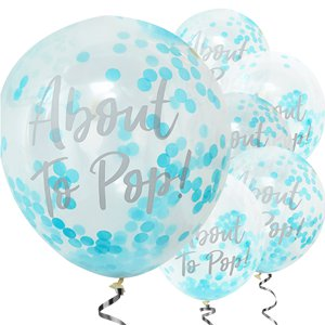 Oh Baby 'About To Pop' Blue Confetti Balloons - 12