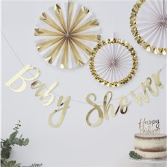 Oh Baby Gold Foiled 'Baby Shower' Letter Banner - 1.5m