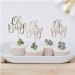 'Oh Baby!' Gold Foil Cupcake Toppers - 13.5cm
