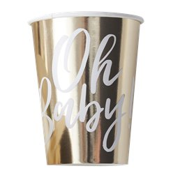 'Oh Baby' Gold Foiled Paper Cups - 255ml