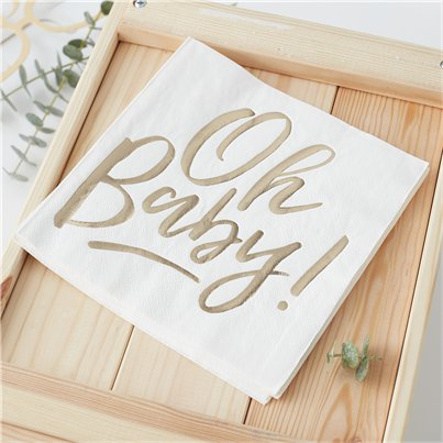 'Oh Baby!' Gold Foiled Paper Napkins - 33cm