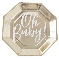 'Oh Baby!' Gold Foiled Paper Plate - 25cm