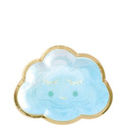 Baby Boy Blue Happy Cloud - Paper Dessert Plates 16cm