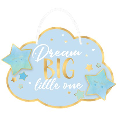 Wooden Baby Boy Blue Dream Big - Cloud Hanging Sign