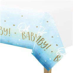 Oh Baby Blue Plastic Table Cover 1.35m x 2.55m