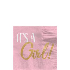Baby 'It's a Girl' - Beverage Napkins - 25cm