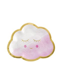 Baby Girl Pink Happy Cloud - Paper Plates 16cm