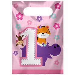 One is Fun Girl Party Bags - Plastic Loot Bags