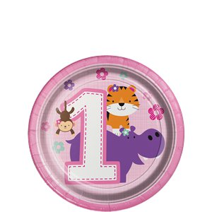 One is Fun 1st Birthday Girl Dessert Plates - 18cm Paper Party Plates