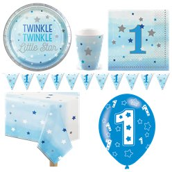 One Little Star Blue 1st Birthday Party Pack - Deluxe Pack for 8