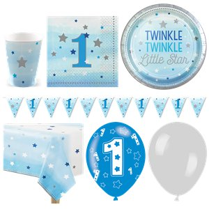 One Little Star Blue 1st Birthday Party Pack - Deluxe Pack for 16