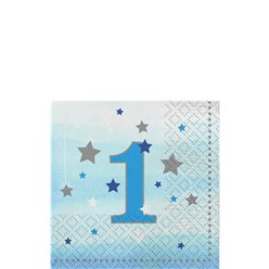 One Little Star Boy 1st Birthday Napkins - 25cm