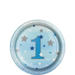One Little Star Boy Plates - 18cm Paper Party Plates
