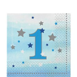 One Little Star Boy 1st Birthday Napkins - 33cm