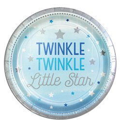 One Little Star Boy Plates - 23cm Paper Party Plates