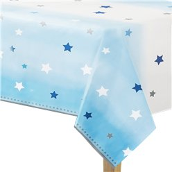 One Little Star Boy Plastic Tablecover - 1.4m x 2.6m