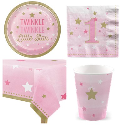 One Little Star Pink 1st Birthday Party Pack - Value Pack for 8