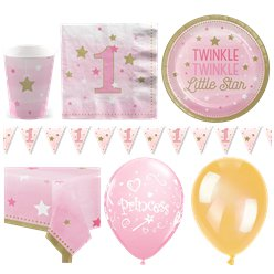 One Little Star Pink 1st Birthday Party Pack - Deluxe Pack for 16