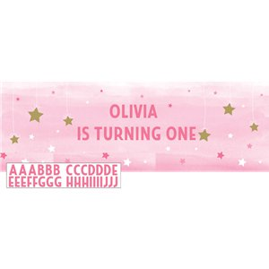 One Little Star Girl Giant Personalisable Banner - 1.5m