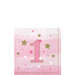 One Little Star Girl 1st Birthday Bevergae Napkins - 25cm