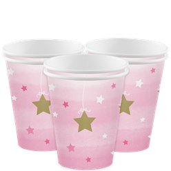 One Little Star Girl Cups - 256ml Paper Party Cups