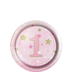 One Little Star Girl Dessert Plates - 18cm Paper Party Plates