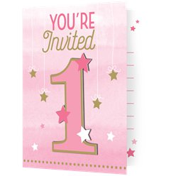 One Little Star Girl Party Invitations