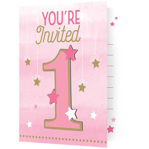 One Little Star Girl Invites Party Invitation Cards