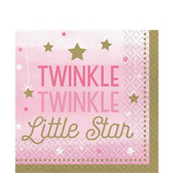 One Little Star Girl Napkins - 33cm