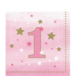 One Little Star Girl 1st Birthday Napkins - 33cm