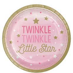 One Little Star Girl Plates - 23cm Paper Party Plates