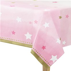 One Little Star Girl Plastic Tablecover - 1.4m x 2.6m