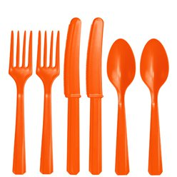 Orange Reuseable Plastic Cutlery - Assorted Party Pack