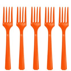 Orange Reusable Forks - 20pk