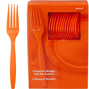 Orange Reusable Forks - 100pk