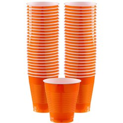 Orange Cups - 473ml Plastic Party Cups