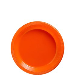 Orange Dessert Plastic Plates - 18cm