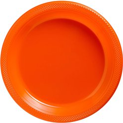 Orange Serving Plastic Plates - 26cm